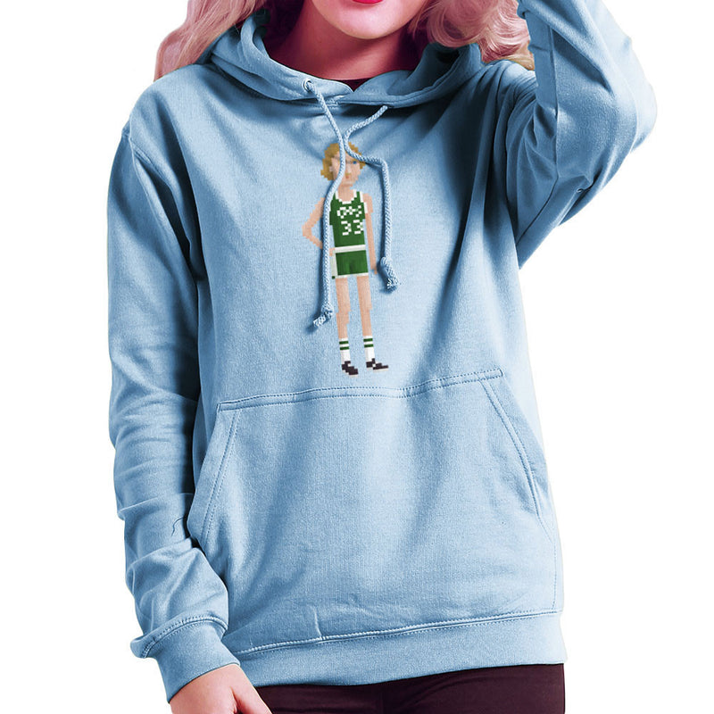 Larry Bird Boston Celtics NBA Pixel Women's Hooded Sweatshirt by Pixel Faces - Cloud City 7