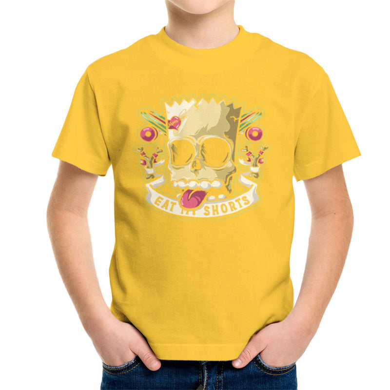 Bad To The Bone Bart Simpson Eat My Shorts Kid's T-Shirt by Create Or Destroy - Cloud City 7