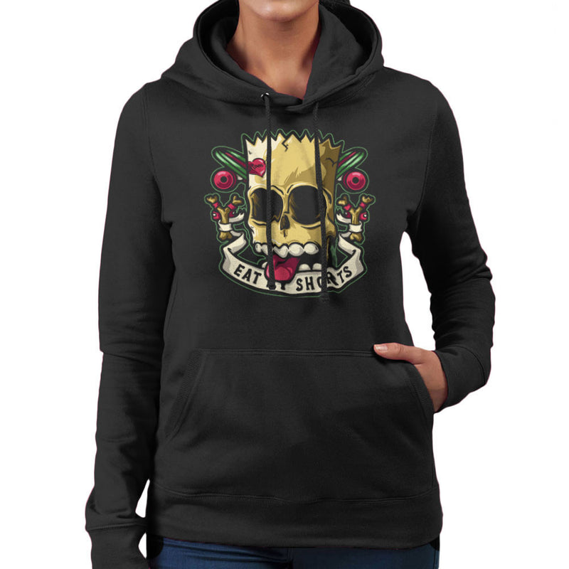 Bad To The Bone Bart Simpson Eat My Shorts Women's Hooded Sweatshirt by Create Or Destroy - Cloud City 7