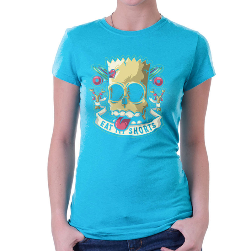Bad To The Bone Bart Simpson Eat My Shorts Women's T-Shirt by Create Or Destroy - Cloud City 7