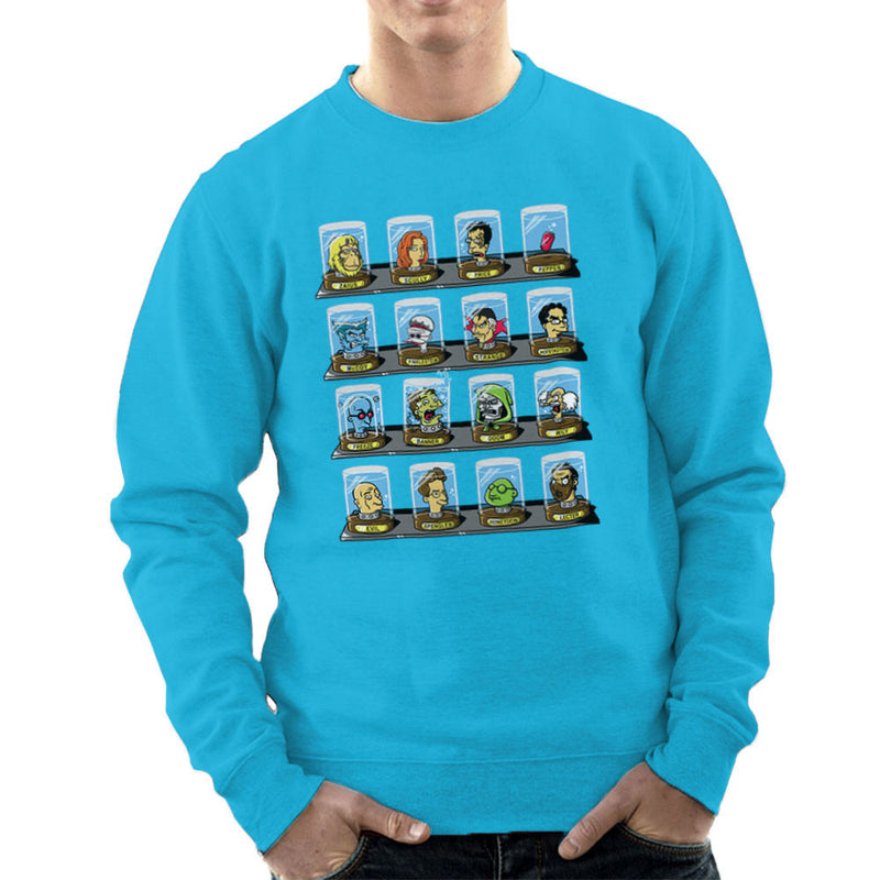 DOC Futurama Pop Culture Heads In Jars Two Men's Sweatshirt by Create Or Destroy - Cloud City 7