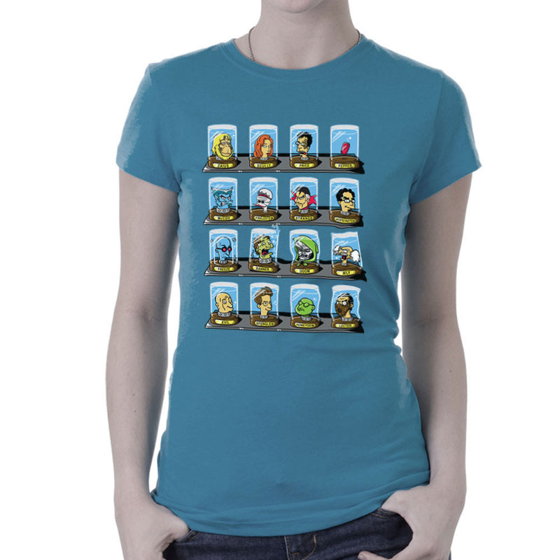 DOC Futurama Pop Culture Heads In Jars Two Women's T-Shirt by Create Or Destroy - Cloud City 7