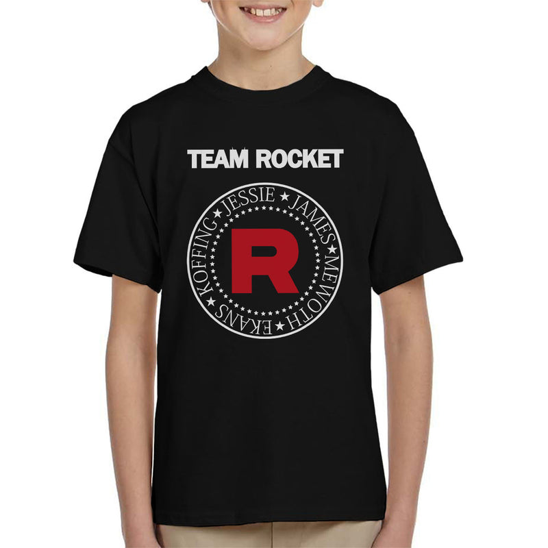5c6e29b8 ... Pokemon Team Rocket Ramones Logo Jessie James Meowth Ekans Koffing Kid's  T-Shirt by Spudhead ...