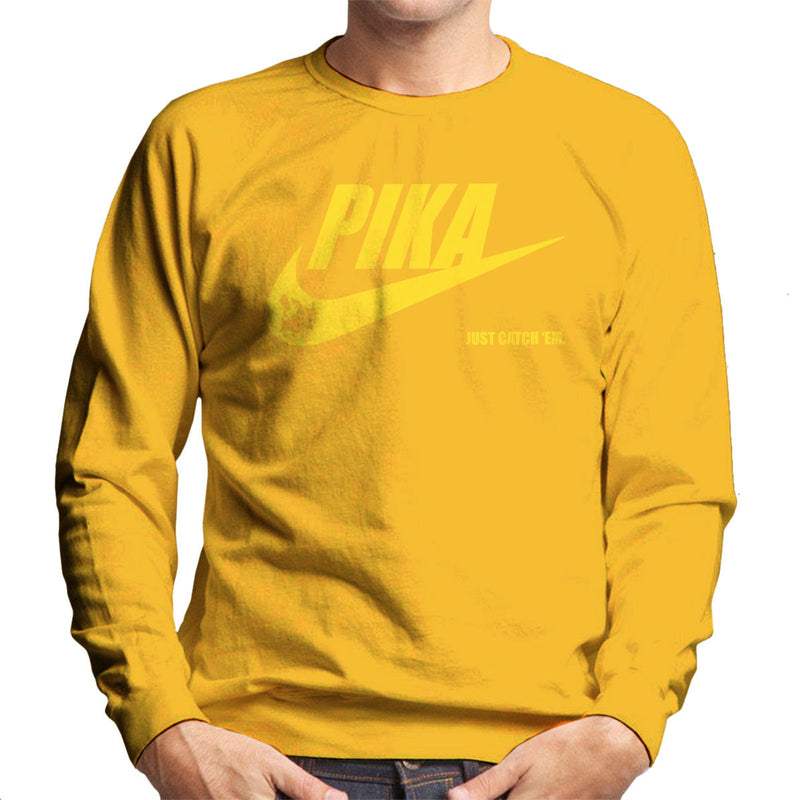 94a17bc12 ... Pokemon Pikachu Nike Logo Pika Just Catch Em Men's Sweatshirt by Nova5  - Cloud City 7