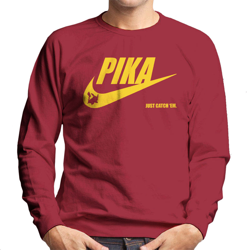 78a567e3c ... Pokemon Pikachu Nike Logo Pika Just Catch Em Men's Sweatshirt by Nova5  - Cloud City 7 ...