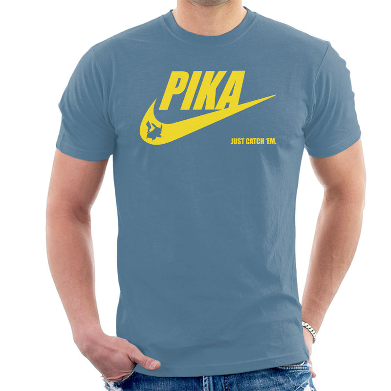 72154b828 ... Pokemon Pikachu Nike Logo Pika Just Catch Em Men's T-Shirt by Nova5 -  Cloud ...
