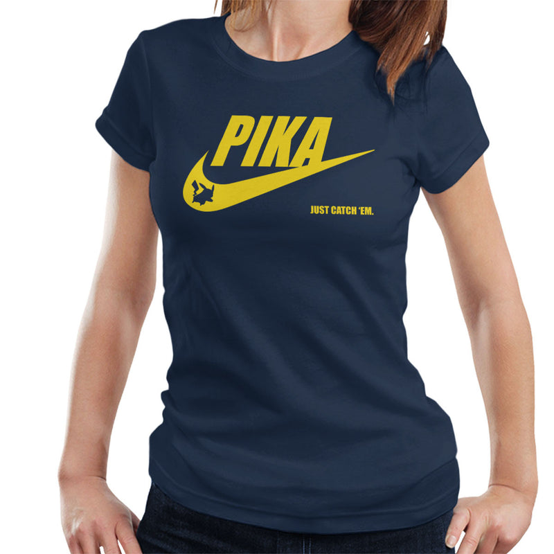 4b173a41e ... Pokemon Pikachu Nike Logo Pika Just Catch Em Women's T-Shirt by Nova5 -  Cloud ...