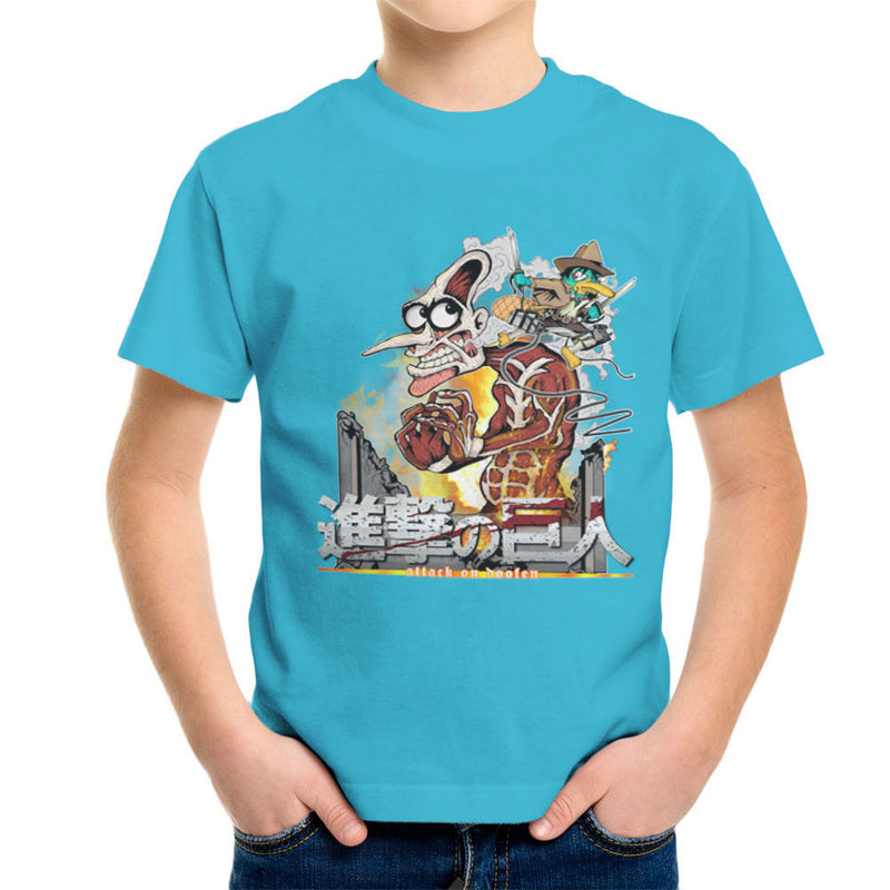 Attack On Doofen Phineas And Ferb Titan Kid's T-Shirt by Mannart - Cloud City 7