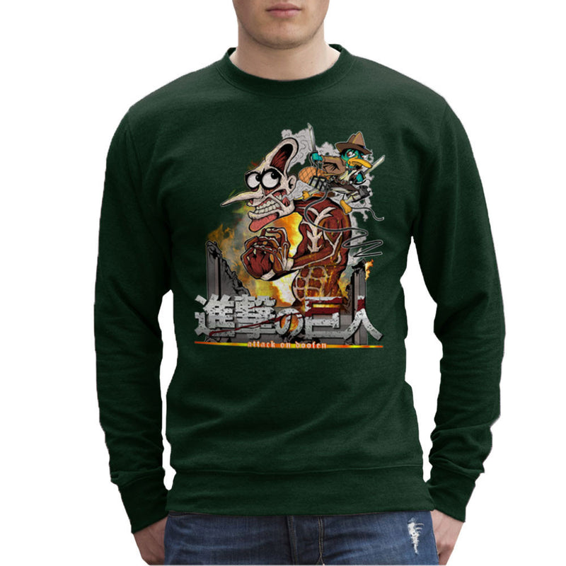 Attack On Doofen Phineas And Ferb Titan Men's Sweatshirt by Mannart - Cloud City 7