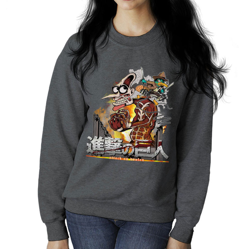 Attack On Doofen Phineas And Ferb Titan Women's Sweatshirt by Mannart - Cloud City 7