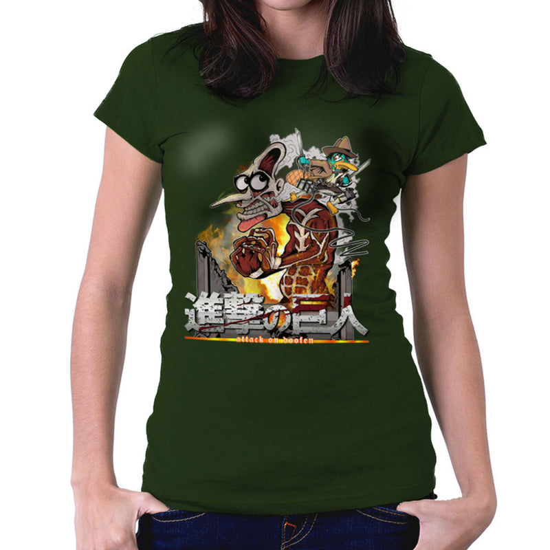 Attack On Doofen Phineas And Ferb Titan Women's T-Shirt by Mannart - Cloud City 7