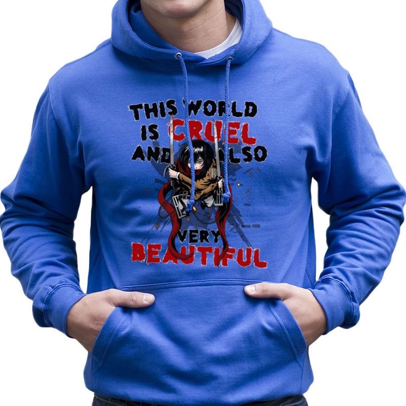 Cruel And Beautiful World Attack On Titan Men's Hooded Sweatshirt by Mannart - Cloud City 7