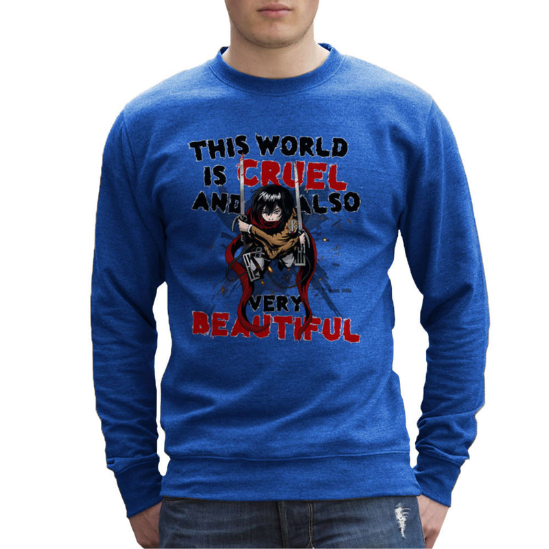 Cruel And Beautiful World Attack On Titan Men's Sweatshirt by Mannart - Cloud City 7