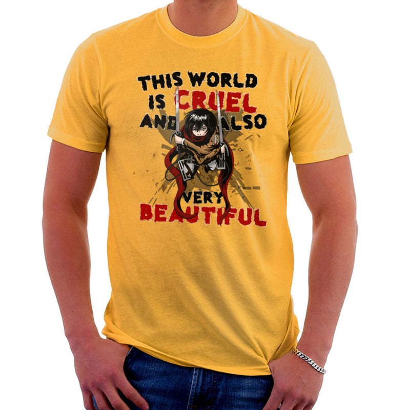 Cruel And Beautiful World Attack On Titan Men's T-Shirt by Mannart - Cloud City 7