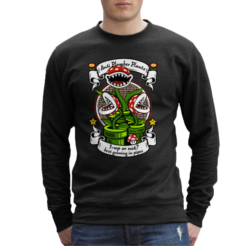 1 Up Or Not Anti Plumber Plants Super Mario Bros Men's Sweatshirt by Kempo24 - Cloud City 7