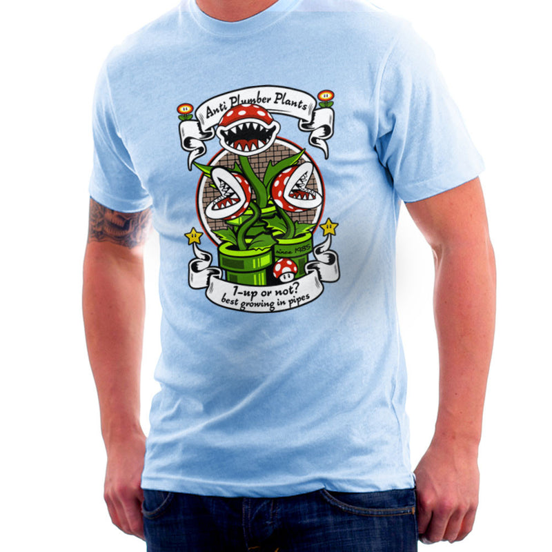 1 Up Or Not Anti Plumber Plants Super Mario Bros Men's T-Shirt by Kempo24 - Cloud City 7