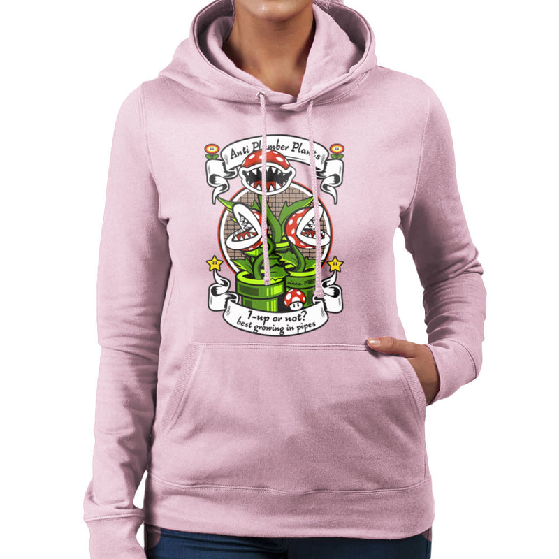 1 Up Or Not Anti Plumber Plants Super Mario Bros Women's Hooded Sweatshirt by Kempo24 - Cloud City 7