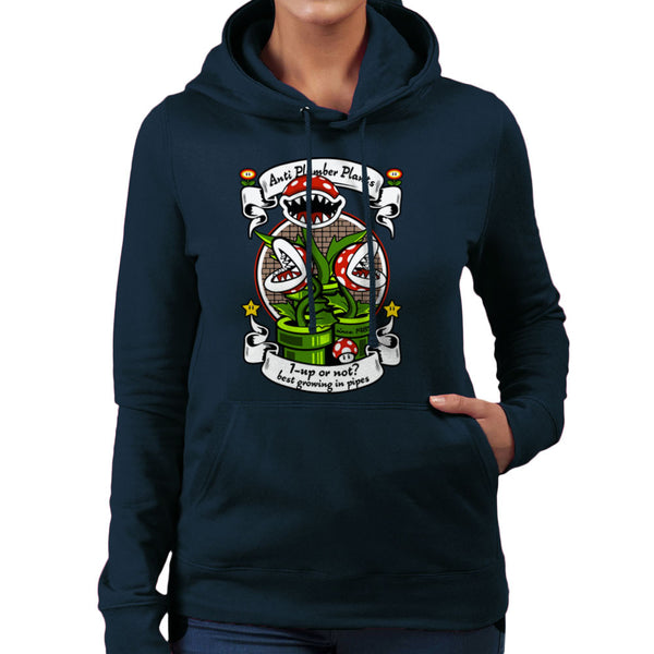 1 Up Or Not Anti Plumber Plants Super Mario Bros Women's Hooded Sweatshirt Women's Hooded Sweatshirt Cloud City 7 - 1