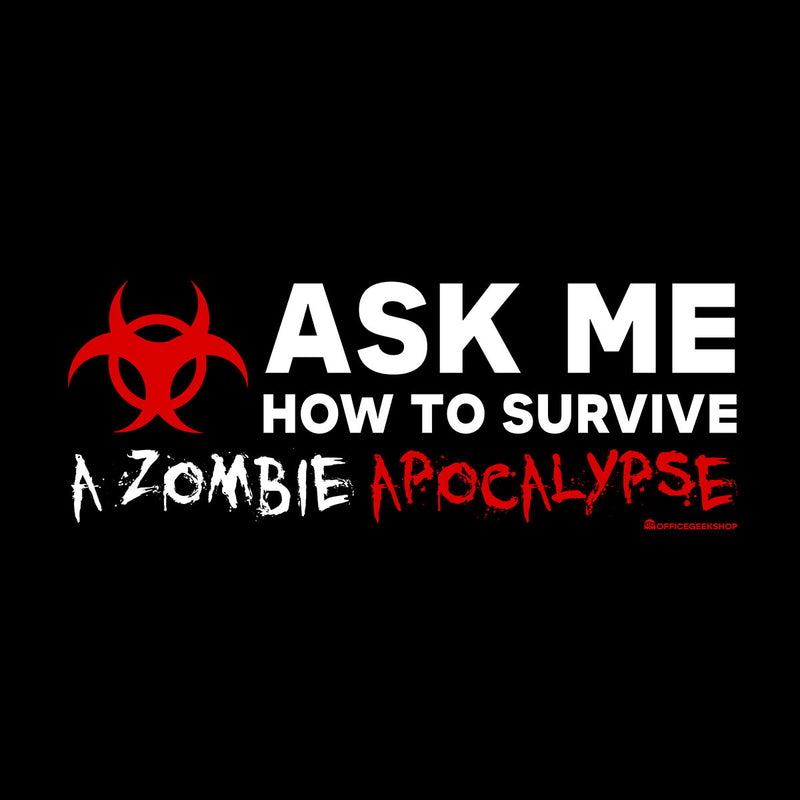 Ask Me How To Survive A Zombie Apocalypse Men's Hooded Sweatshirt by OfficeGeekShop - Cloud City 7