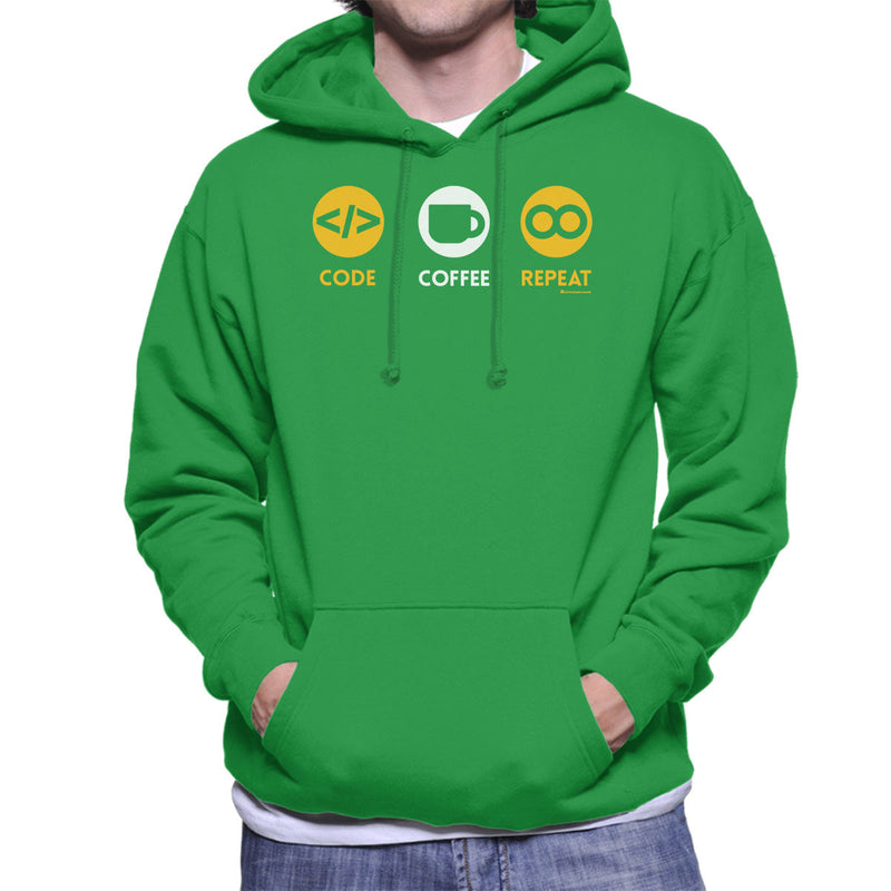 Code Coffee Repeat Men's Hooded Sweatshirt by OfficeGeekShop - Cloud City 7