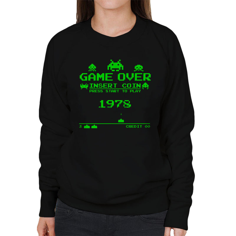 49c569cd ... Press Start Retro Game Over Space Invaders Green Women's Sweatshirt by  Kempo24 - Cloud City 7 ...