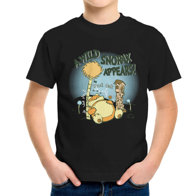 A Wild Snorlax Appears By Professor Oak Pokemon Kid's T-Shirt by Create Or Destroy - Cloud City 7