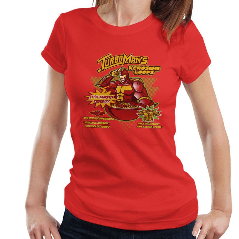 Kerosene Loops Turbo Man Jingle All The Way Cereal Women's T-Shirt by AndreusD - Cloud City 7