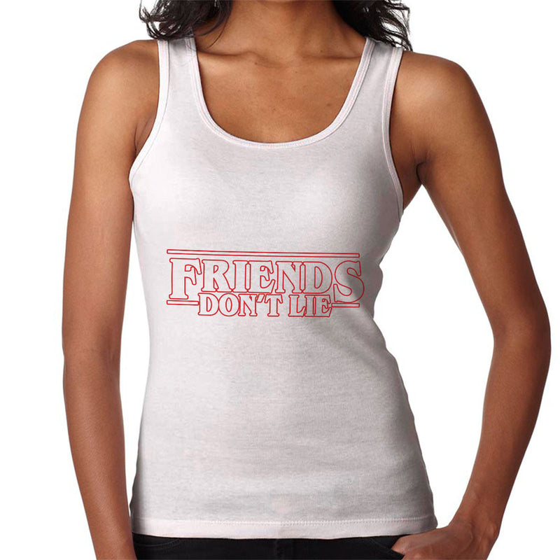 af63bfc5433 ... Stranger Things Friends Don t Lie Logo Women s Vest by TopNotchy -  Cloud City 7 ...