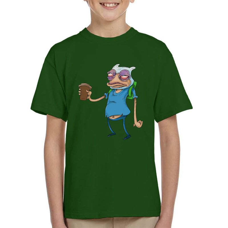 Adventure Time Finn The Human Before Coffee Kid's T-Shirt by Samuel Milham - Cloud City 7
