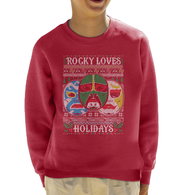 3 Ninjas Masks Holidays Christmas Knit Pattern Kid's Sweatshirt by Create Or Destroy - Cloud City 7