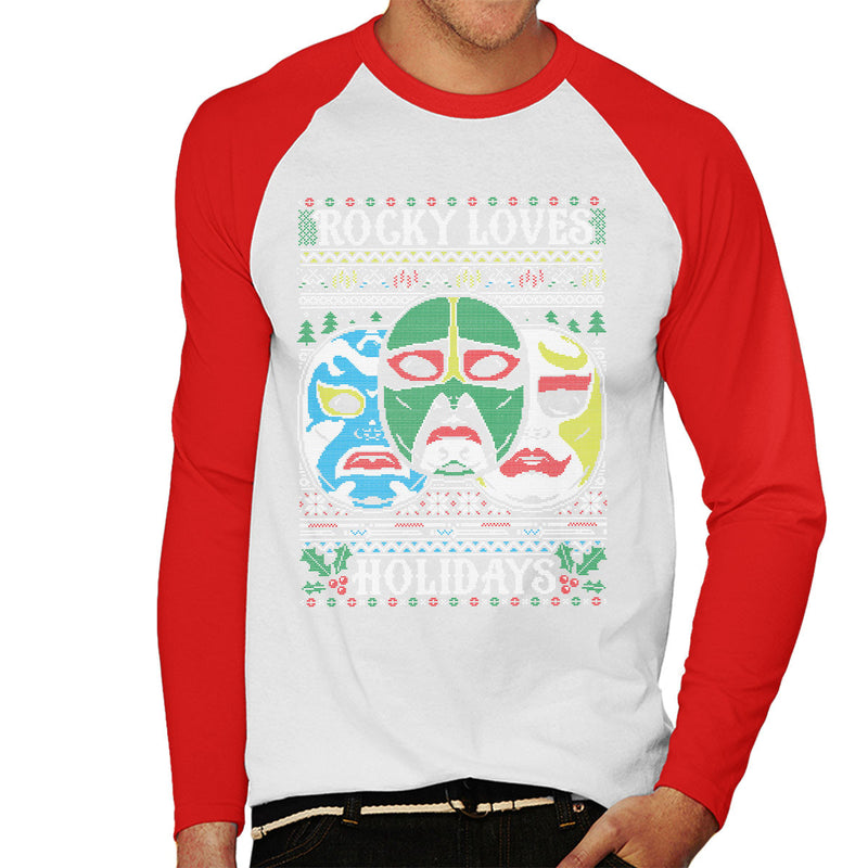 3 Ninjas Masks Holidays Christmas Knit Pattern Men's Baseball Long Sleeved T-Shirt by Create Or Destroy - Cloud City 7