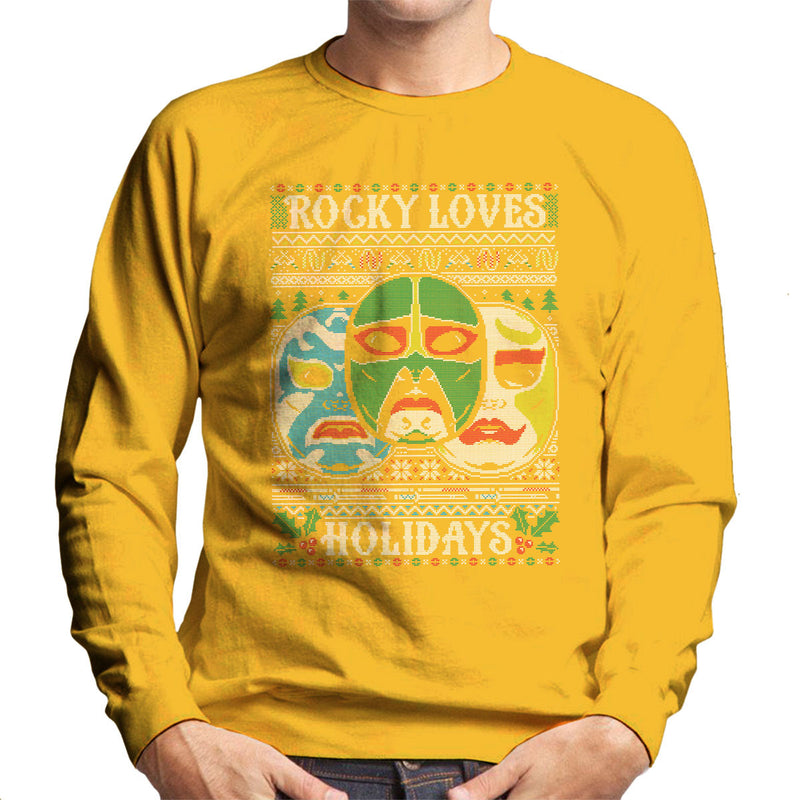 3 Ninjas Masks Holidays Christmas Knit Pattern Men's Sweatshirt by Create Or Destroy - Cloud City 7