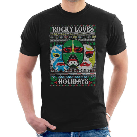3 Ninjas Masks Holidays Christmas Knit Pattern Men's T-Shirt