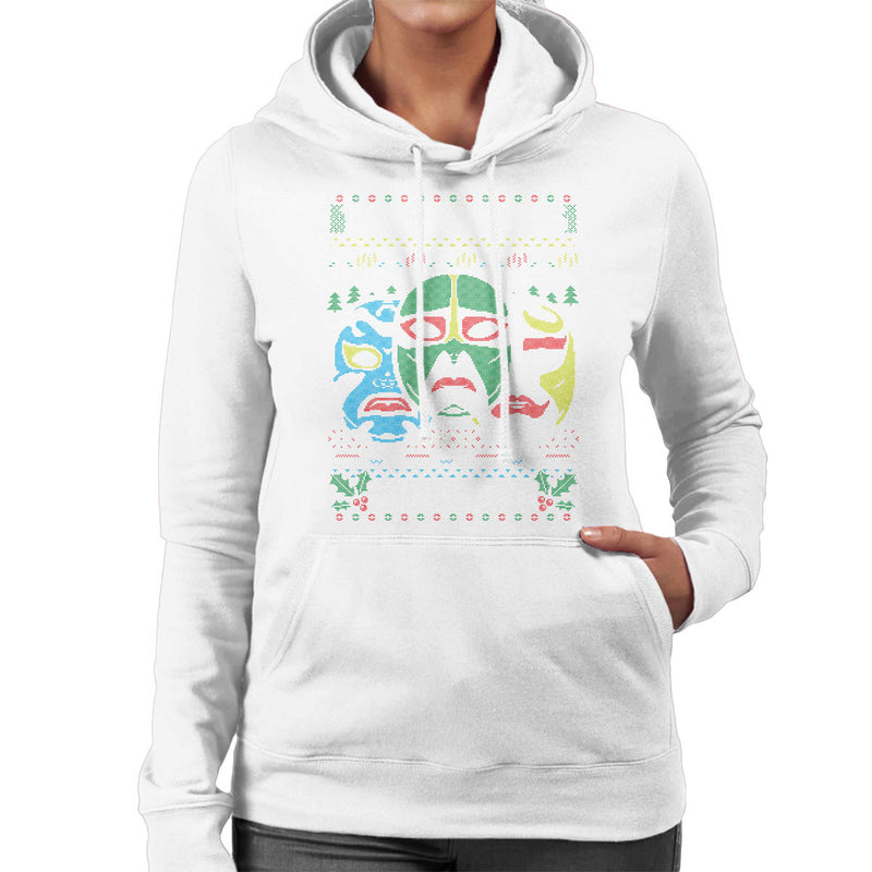3 Ninjas Masks Holidays Christmas Knit Pattern Women's Hooded Sweatshirt by Create Or Destroy - Cloud City 7
