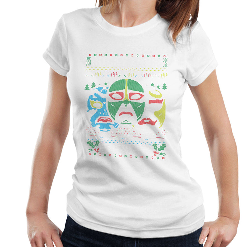 3 Ninjas Masks Holidays Christmas Knit Pattern Women's T-Shirt by Create Or Destroy - Cloud City 7