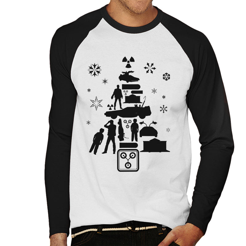 d891ea725a32 ... Back To The Future Christmas Tree Silhouette Men s Baseball Long  Sleeved T-Shirt by Pheasant ...