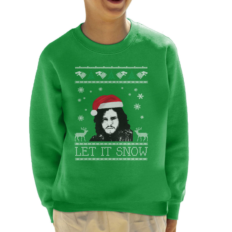 let it snow jon snow christmas game of thrones kids sweatshirt by cletus courgetti cloud