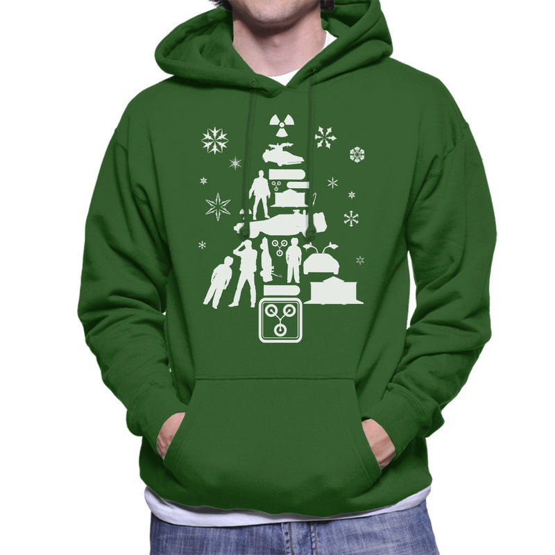 Back To The Future Christmas Tree Silhouette White Men's Hooded ...