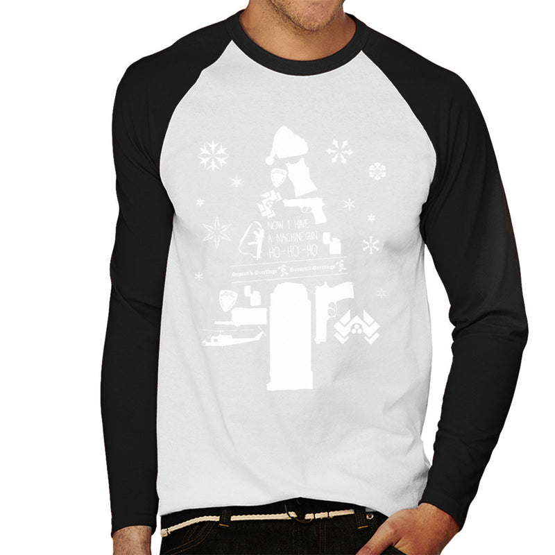 Die Hard Christmas Tree Silhouette White Men's Baseball Long Sleeved T-Shirt