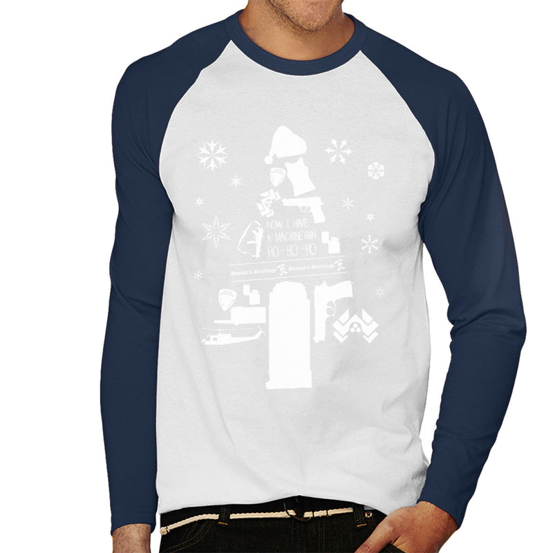 Die Hard Christmas Tree Silhouette White Men's Baseball Long Sleeved T-Shirt by Pheasant Omelette - Cloud City 7