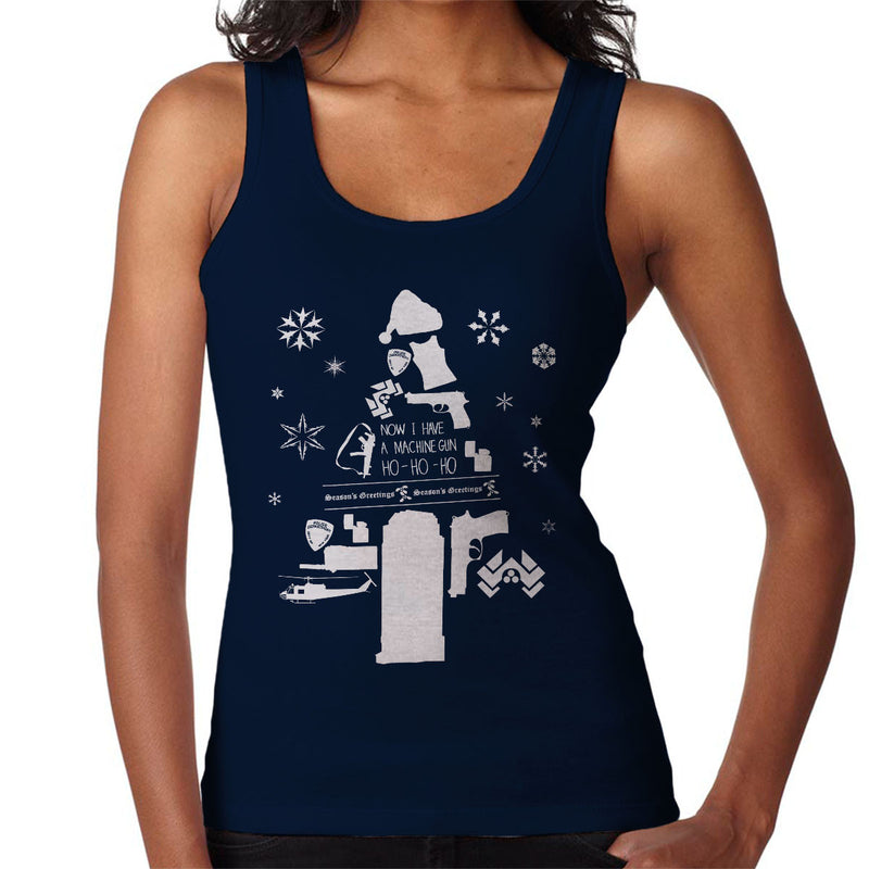 Die Hard Christmas Tree Silhouette White Women's Vest by Pheasant Omelette - Cloud City 7