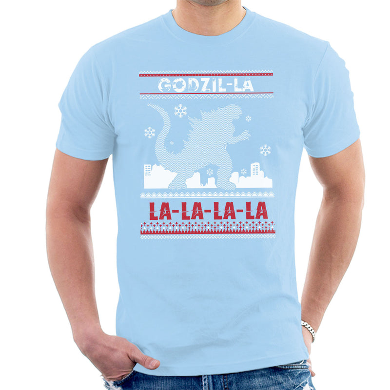 Godzilla Godzil La La La Christmas Knit Pattern Men's T-Shirt by happeace - Cloud City 7