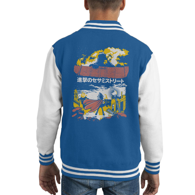 Attack On Sesame Street Cookie Monster Titan Kid's Varsity Jacket by Olipop - Cloud City 7