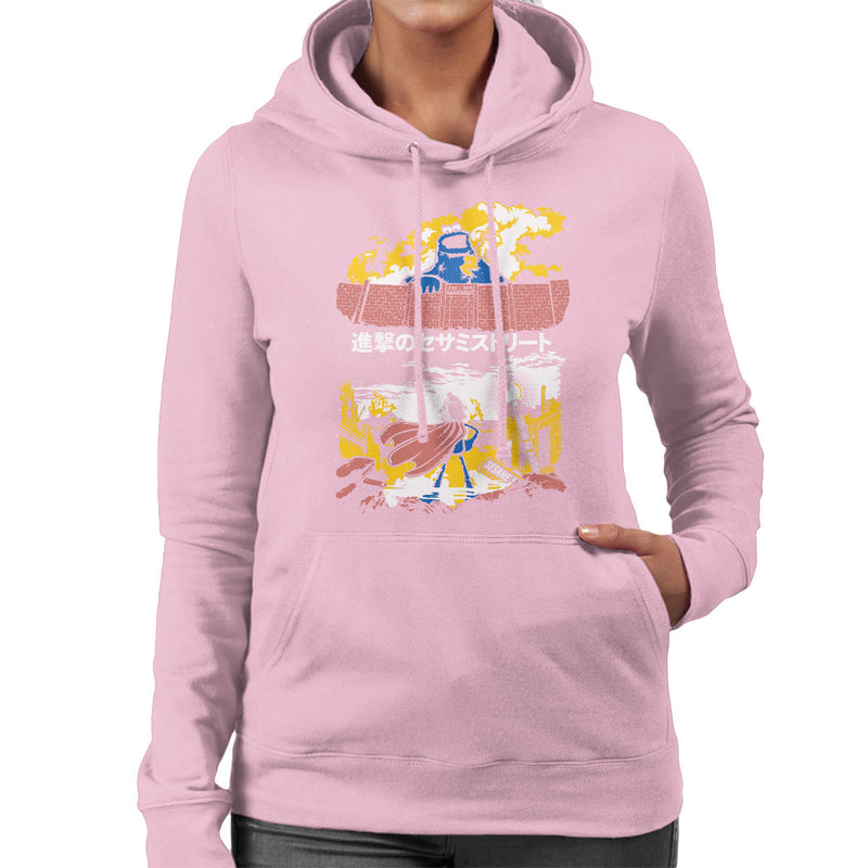 Attack On Sesame Street Cookie Monster Titan Women's Hooded Sweatshirt by Olipop - Cloud City 7
