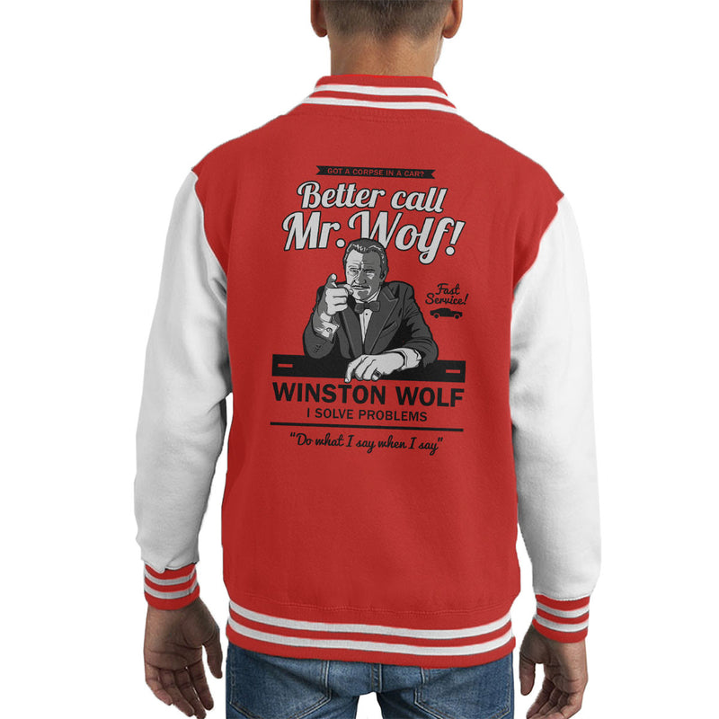 Better Call Mr Wolf Pulp Fiction Kid's Varsity Jacket