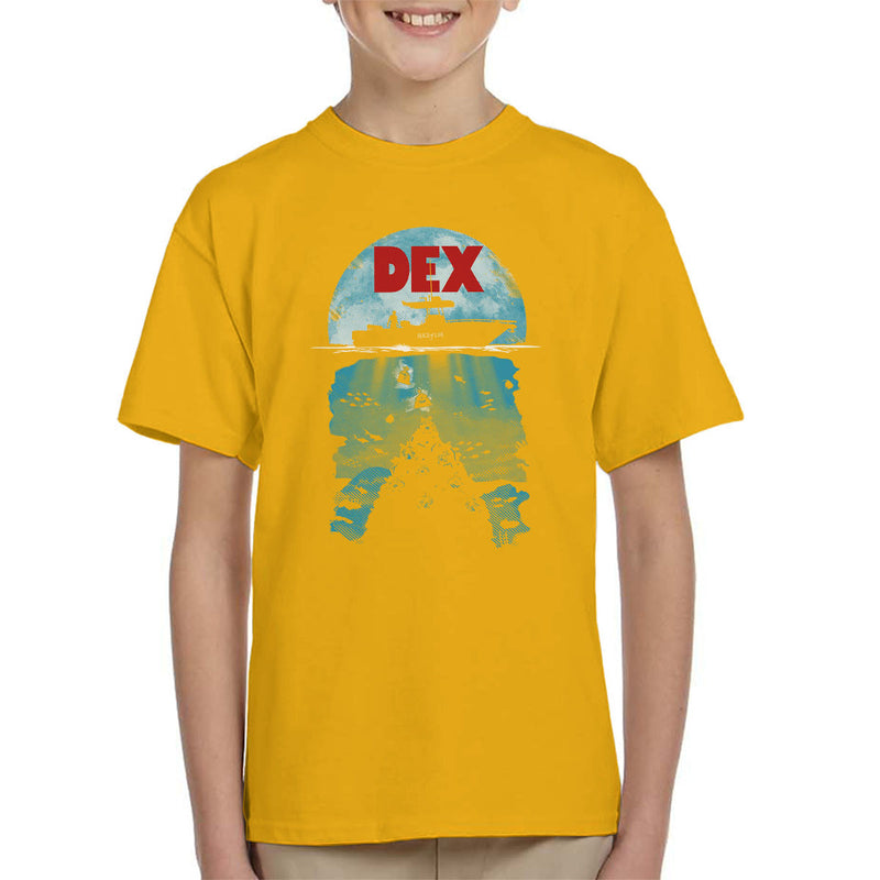 Dex Dexter Jaws Mashup Kid's T-Shirt by Olipop - Cloud City 7