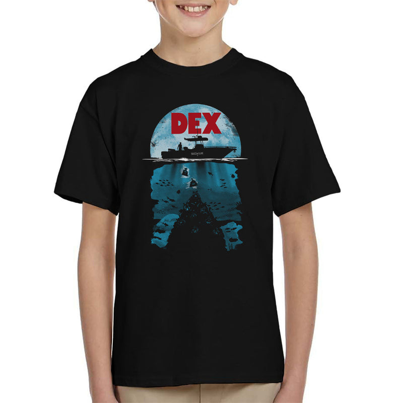 Dex Dexter Jaws Mashup Kid's T-Shirt
