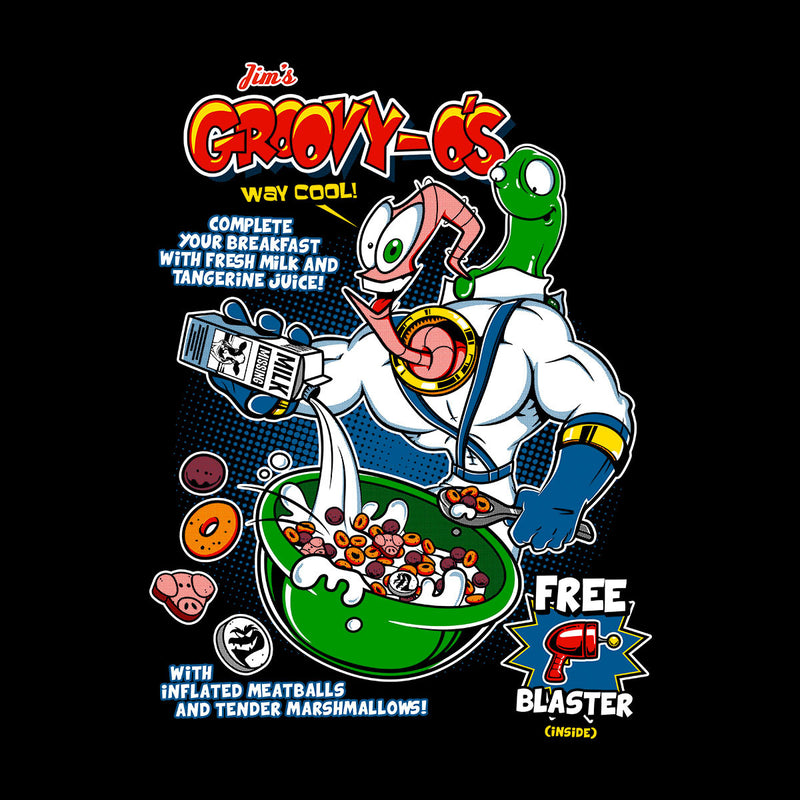 GroovyOs Earth Worm Jim Cereal Men's Baseball Long Sleeved T-Shirt by Olipop - Cloud City 7
