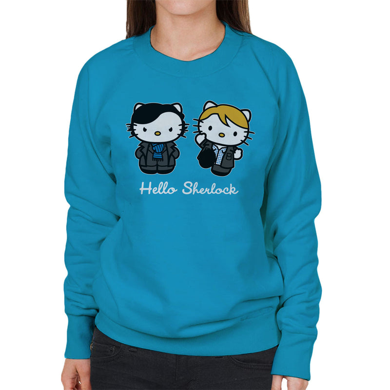 Hello Sherlock Kitty Women's Sweatshirt by Olipop - Cloud City 7
