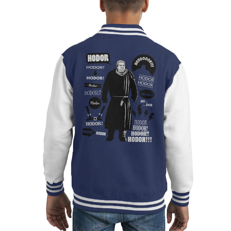 Hodor Quotes Game Of Thrones Kid's Varsity Jacket by Olipop - Cloud City 7
